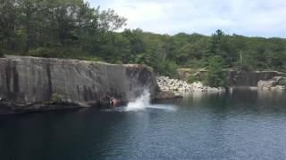 Rockport Massachusetts Steel Derrick Quarry Cliff Jump