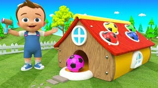 Baby Fun Learning Colors with Wooden Hammer SoccerBalls Colors House ToySet 3D Kids Educational