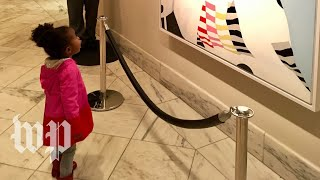 Michelle Obama meets little girl captivated by her portrait