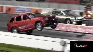 Fastest NA SRT 8 Jeep Cherokee vs Big Block Camaro  - Wheelstand - Drag Race Video -- Road Test TV
