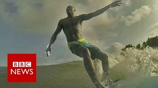 Going surfing in Lagos harbour - BBC News