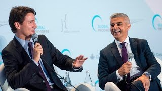 Justin Trudeau and Sadiq Khan share a laugh about US election