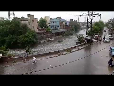 Boy with car slipped in rain in jaipur part 2