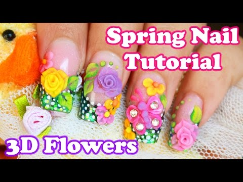 how to make 3D spring acrilic roses and butterfly easy nail change