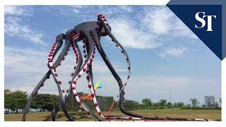 Giant octopus kite flying at Marina Barrage
