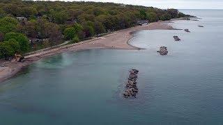 Emergency shoreline repair of Woodbine Beach, viewed forma drone