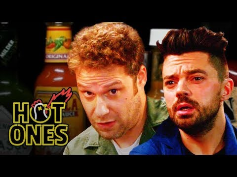 Xxx Mp4 Seth Rogen And Dominic Cooper Suffer While Eating Spicy Wings Hot Ones 3gp Sex