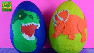 Play Doh Dinosaurs Eggs Surprise dino Jurassic World toy videos for kids