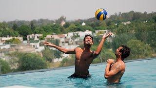 Mustafizur Rahman & Sunrisers Hyderabad team mates doing fun on swiming Pool