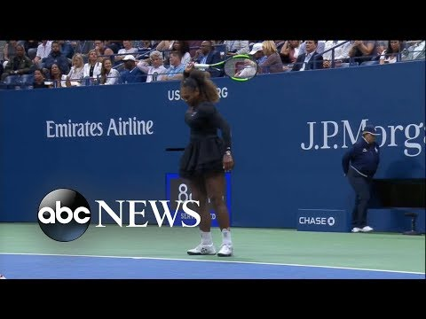 Xxx Mp4 Shocking US Open Final As Serena Williams Loses Breaks Her Racket 3gp Sex