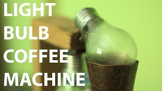 A coffee machine made of light bulbs