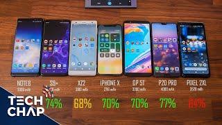 Galaxy S9+ vs iPhone X vs Huawei P20 Pro vs Sony XZ2 vs OnePlus 5T - Battery Test! | The Tech Chap