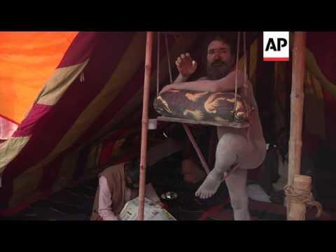 Revered holy men amongst the millions bathing in the Ganges for the Kumbh Mela