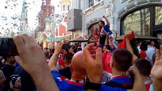World cup. Croatia fans in Moscow. July 11, 2018