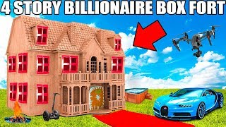 4 STORY BILLIONAIRE BOX FORT CHALLENGE!! 📦💰 Movie Theatre, Drone Defence, Gaming Room & More!