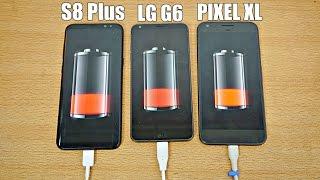 Samsung Galaxy S8 Plus vs LG G6 vs Pixel XL - Battery Drain Test! (4K)
