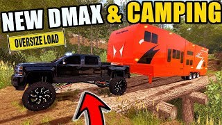 FARMING SIMULATOR 2017 | THE NEW 2018 CHEVY DMAX PULLING CAMPER & JEEP UP OLD LOGGING ROADS