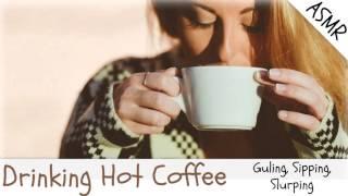 Binaural ASMR Drinking Hot Coffee, Mouth Sounds, Gulping, Sipping, Slurping