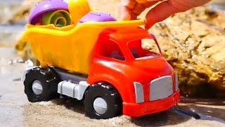 Toy Trucks -  SUBMARINE SEARCH! - Sandy Beach Playground.Toy Stories. Toy Car Videos.Kid's Cartoons