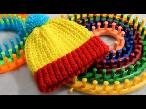Gorro Tejido con Telar Redondo Circular FACIL Loom Knit Hat in Spanish