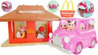 LOL Surprise Dolls + Lil Sisters at Mcdonalds Drive Thru