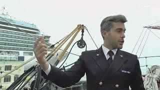 Vi portiamo a bordo dell'Amerigo Vespucci nave scuola della Marina  Miltare