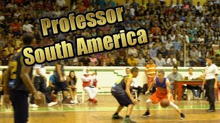 Professor hooping on tour w/CourtKingz in South America. Fans get hyped