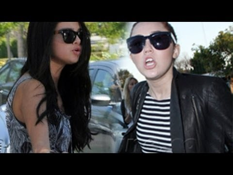Miley Cyrus and Selena Gomez - Bitter Moments With Paparazzi