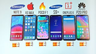 iPhone XS MAX vs Note 9 /S9+ / POCOPHONE F1 / P20 Pro / OnePlus 6 - Battery Drain Test!