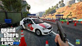GTA V : MOD POLICIA LSPDFR   BLITZ em Primeira pessoa com Renault Logan PMSP   EP# 77