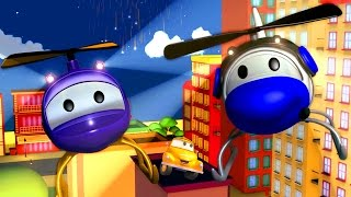 Tom The Tow Truck and Hector the Helicopter in Car City Cars & Trucks construction cartoon children