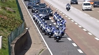 Queen Elizabeth II and Enormous Escort Entourage on a cleared Highway at Frankfurt