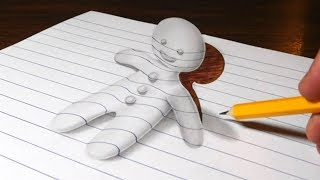 Gingerbread Man Optical Illusion Drawing - 3D Trick Art on Line Paper