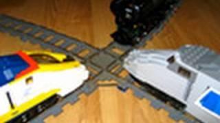 LEGO Emerald Night, TGV, and Eurostar three-way train crash