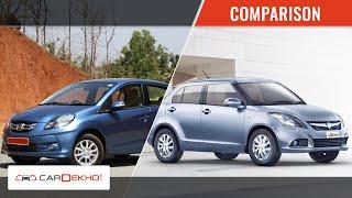 Maruti Suzuki Swift Dzire Vs Honda Amaze   CarDekho.com