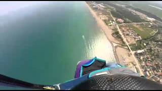 first Caspian Sea wingsuit jump from paramotor  iran