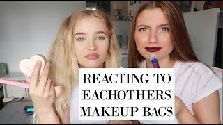 REACTING TO EACHOTHERS MAKEUP BAGS! Grace and Grace