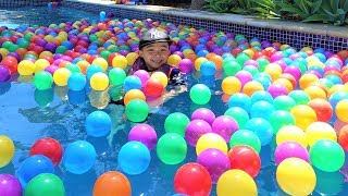 Swimming With 1000 Colour Balls In The Pool Kids Outdoor Fun With Ckn Toys