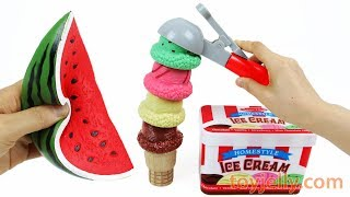 Making Ice Cream Cones with Squishy Fruits & Vegetables Velcro Baby Toys for Kids Children
