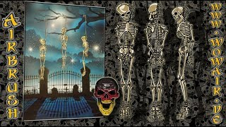 """Airbrush by Wow No.904 """" Skelette am Galgenstrick  """" mit deutschem Kommentar"""