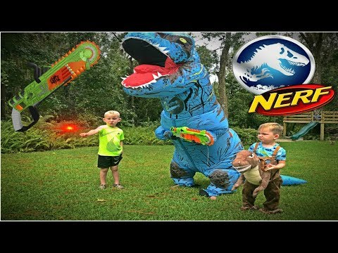 Jurassic World Fallen Kingdom T REX ATTACK Nerf battle Kyle vs T rex