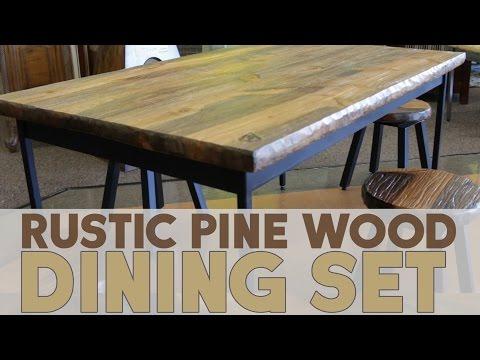 Rustic Pine Wood Dining Set