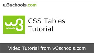 W3Schools CSS Tables Tutorial