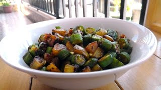 Indian Bhindi Aloo - Vegan Vegetarian Recipe