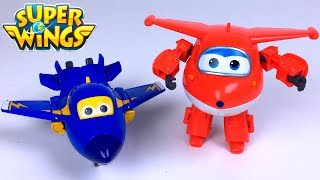 SUPER WINGS TRANSFORMING VEHICLES WITH JETT  JEROME DONNIE AND DIZZY PLANE AND ROBOT - UNBOXING