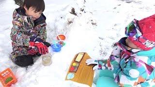 雪の中のラーメン屋さんごっこ お店屋さんごっこ こうくんねみちゃん Play Ramen Shop in the Snow