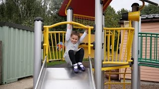 Outside playground fun with Kids: Giant Castle, Slides, Trampoline and more