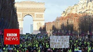 France protests: Demonstrators flee police tear gas - BBC News