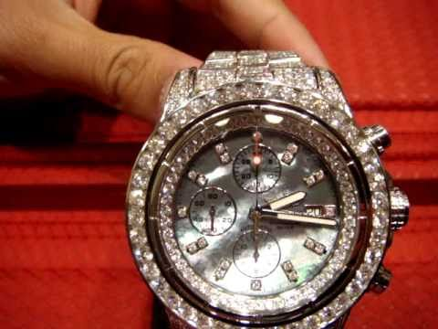 DIAMOND BREITLING WATCH SUPER AVENGER DIAMONDS FULL CASE ICED OUT
