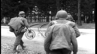 American Army troops entering area of Dachau Concentration Camp, Dachau, Germany,...HD Stock Footage